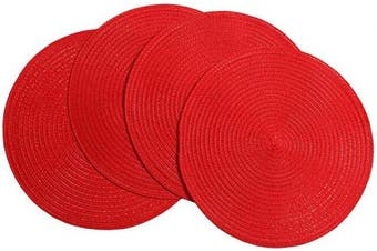 (4, Red) - SHACOS Round Braided Placemats 38cm Set of 4 Washable Kitchen Table Placemats for Home Wedding Party (Red, 4)