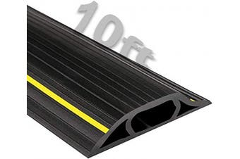 (3m, Black/Yellow Stripe) - Electriduct High Visibility Plastic Flexible Floor Cord Cover 3 Channel and Wire Concealer - Includes Double Sided Tape - 3m - Black with Yellow Stripe