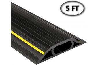 (1.5m, Black/Yellow Stripe) - Electriduct High Visibility Plastic Flexible Floor Cord Cover 3 Channel and Wire Concealer - Includes Double Sided Tape - 1.5m - Black with Yellow Stripe