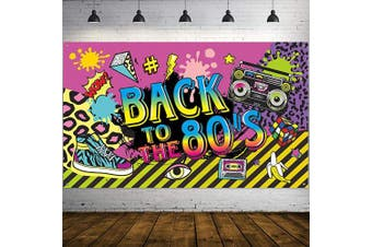 80's Party Decorations, Extra Large Fabric Back to The 80's Hip Hop Sign Party Banner Photo Booth Backdrop Background Wall Decorating Kit for 80's Party Supplies, 180cm x 110cm