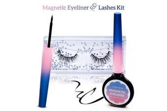 Magnetic Eyelashes and Magnetic Eyeliner Kit, Reusable 3D Magnetic Eyelashes, Waterproof Magnetic Eyeliner Liquid
