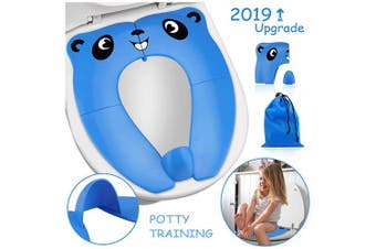[Upgrade Version] Foldable Potty Seat - RIGHTWELL Travel Toilet Seat, Toilet Training Seat Portable Toilet Seat Toddler PP Material with Carry Bag (Blue)