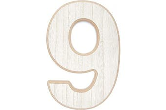 (1 Pack, Number 9) - Wood Numbers for Crafts, Wooden Number 9 (30cm )