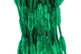 (Green) - Carykon Pack of 100 Pipe Cleaners Fuzzy Bumpy Chenille Stems for Creative Handmade DIY Art Craft (Green)