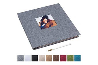 (34cm  x 33cm , Gray) - 34cm x 33cm Large Self Adhesive Photo Album Magnetic Scrapbook Album 40 Magnetic Double Sided Pages Linen Hardcover DIY Photo Album with A Metallic Marker Pen (Grey)