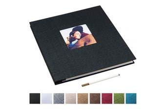 (34cm  x 33cm , Black) - 34cm x 33cm Large Self Adhesive Photo Album Magnetic Scrapbook Album 40 Magnetic Double Sided Pages Linen Hardcover DIY Photo Album with A Metallic Marker Pen (Black)