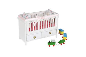 1:18 Scale Cool Beans Boutique Miniature Dollhouse Furniture DIY Kit – Baby Crib – 1:18 Scale Miniature Furniture (English Manual)