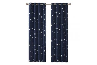 "(2x W46""x L90"", Navy Blue) - Deconovo Star Foil Printed Eyelet Blackout Curtains for Boys Bedroom with Two Matching Tie Backs 120cm x 230cm Two Panels Navy Blue"