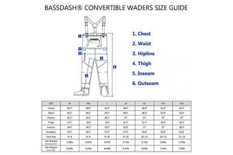 (Large, Stocking Foot) - Bassdash Men's Breathable Lightweight Chest and Waist Convertible Waders for Fishing and Hunting, Stocking Foot and Boot Foot Waders Available in 7 Sizes