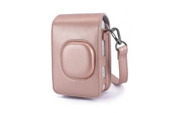 (Blush Gold) - Phetium Protective Case Compatible with Instax Mini LiPlay Instant Camera and Printer, Soft PU Leather Bag with Removable/Adjustable Shoulder Strap (Blush Gold)