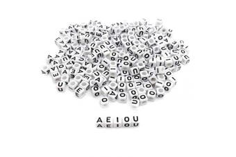 (Vowel) - Amaney 250 Pieces 6×6mm White Cube Acrylic Black Alphabet Vowel Letter Beads A E I O U Each 50 Pieces for Jewellery Making Bracelets Necklaces Key Chains and Kids Jewellery
