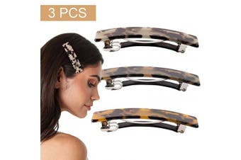 (Leopard Barrette) - 3PCS Hair Claw Banana Clips Leopard print Barrettes Square Resin Celluloid French Design Tortoise Shell Accessories for Women Girls