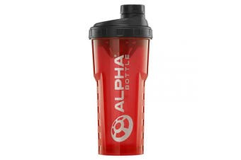 (Red, 750ml) - Alpha Bottle V2 – Anti-Bacterial BPA and DEHP Free Protein Shaker with BioCote® Technology (Red, 750ml)