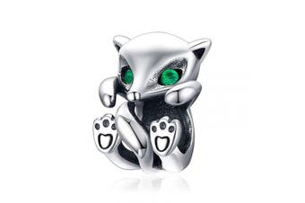 CHENGMEN Cute Little Fox with Green Eyes Charms 925 Sterling Silver Animal Beads fit European Bracelets