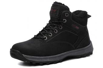 (9.5 UK, A9285-black) - ABTOP Mens Snow Boots Womens Winter Boots Warm Ankle Fully Fur Lined Anti-Slip Leather Boots Work Walking Hiking Outdoor Urban 4UK-11.5UK