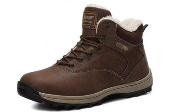 (11, A9285-brown) - ABTOP Mens Snow Boots Womens Winter Boots Warm Ankle Fully Fur Lined Anti-Slip Leather Boots Work Walking Hiking Outdoor Urban 4UK-11.5UK