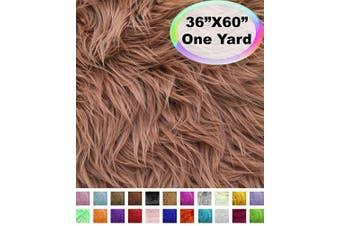 (One Yard, Light Brown) - Barcelonetta | One Yard Faux Fur | 90cm X 150cm Inch | Craft Supply, Costume, Decoration (Light Brown)