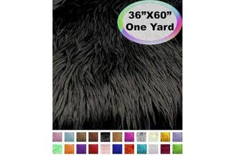 (One Yard, Black) - Barcelonetta | One Yard Faux Fur | 90cm X 150cm Inch | Craft Supply, Costume, Decoration (Black)
