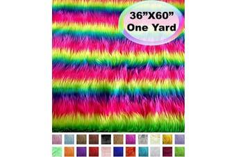 (One Yard, Neon Rainbow Stripe) - Barcelonetta | One Yard Faux Fur | 90cm X 150cm Inch | Craft Supply, Costume, Decoration (Neon Rainbow Stripe)