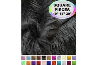 (25cm  X 25cm , Dark Grey) - Barcelonetta | Faux Fur Squares | Shaggy Fur Fabric Cuts, Patches | Craft, Costume, Camera Floor & Decoration (Dark Grey, 25cm X 25cm )