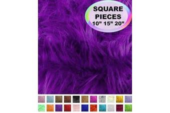(50cm  X 50cm , Purple) - Barcelonetta | Faux Fur Squares | Shaggy Fur Fabric Cuts, Patches | Craft, Costume, Camera Floor & Decoration (Purple, 50cm X 50cm )