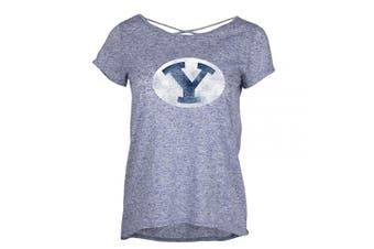 (BYU Cougars, Small, Navy Heather) - Ouray Sportswear NCAA Adult-Women Women's Criss Cross Tee