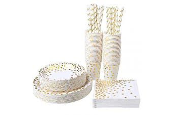 (Color B) - Aneco 250 Pieces Gold Foil Party Supplies Party Tableware Foil Paper Plates Napkins Cups Straws for Weddings, Anniversary, Birthday for 50 Guests