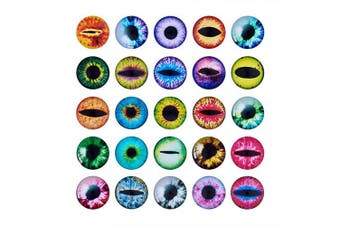 (25mm#100pcs) - Beadthoven 25mm 90pcs Mixed Style Round Glass Dragon Eye Gem Cover Cabochon for Dome Jewellery Finding Cameo Pendent Doll Making