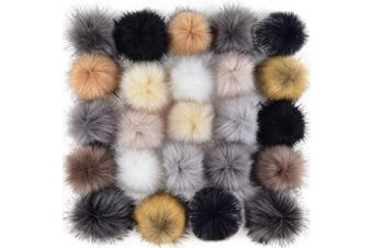 (Popular Mix Colors) - Coopay 24 Pieces Faux Fox Fur Pom Pom Balls DIY Fur Fluffy Pom Pom with Elastic Loop for Hats Keychains Scarves Gloves Bags Charms Knitting Accessories (Popular Mix Colours)