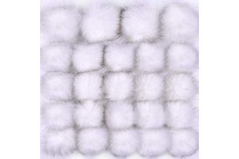 (White) - Coopay 24 Pieces Faux Fox Fur Pom Pom Balls DIY Fur Fluffy Pom Pom with Elastic Loop for Hats Keychains Scarves Gloves Bags Charms Knitting Accessories (White)