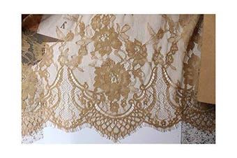 (Light Gold) - Chantilly Eyelash Edge Lace Fabric Floral Bridal/Wedding Dress Flower African Lace Table Cloth DIY Crafts Trim Applique Ribbon Curtains ALE16 (Light Gold)