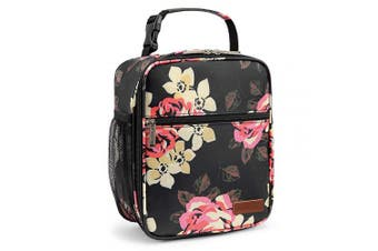 (Peony) - BRINCH Insulated Lunch Box Reusable Lunch Bag Thermal Meal Prep Lunch Box Water Resistant Floral Tote Cooler Bag for Women, Adults Office Work Picnic Beach Camping, Peony