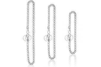 3 Pieces Pants Chain Pocket Chain Belt Metal Jeans Chain Wallet Chain with Lobster Clasps and Keyring for Men Women Keys Wallets