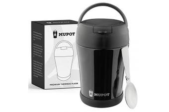 (Black) - Stainless Steel Hot Lunch & Travel Thermos with Spoon – Soup/Meal Thermos for Kids, Women & Men | Vacuum Vacuum Flask Insulated Food Jar – MUPOT | 360ml Hot Food Thermos Container (Black)
