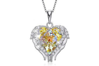 (Sterling Silver Yellow) - CDE Christmas Thanksgiving Necklace Gift for Women Crystals Heart Pendant Necklaces, Embellished with Crystals from for Women Mum Girlfriend