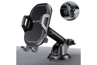 (black) - Cell Phone Holder for Car RAXFLY Windshield Air Vent Car Phone Mount 360 Degree Rotation Suction Cup Dashboard Phone Holder Car Mount Compatible with iPhone 8 7 Plus X XR XS Max Samsung Note 10 Plus