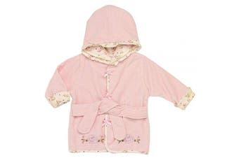 (Rose Bathrobe) - Little Me Vintage Rose Appliqued Velour Hooded Bathrobe