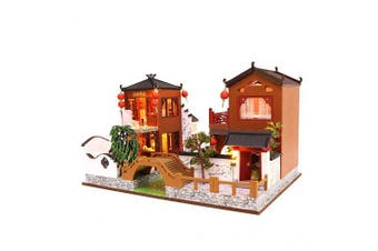 Cool Beans Boutique Miniature Dollhouse DIY Kit - Wooden Chinese Villas with Landscape Creek and Bridge - with Dust Cover - Architecture Model kit (English Manual) L902Z Chinese Villas