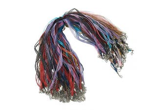 Beadthoven 100 Strands Multi-Strand Ribbon Necklace Cord with 3 Loops Waxed Cord Organza Ribbon Alloy Lobster Claw Clasps Chains for Necklace Making 45cm Solid Mixed Colour