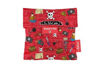 (Red) - Roll'eat - Snack'n'Go Kids Reusable Sandwich Bag Ecological and Reusable BPA Free, Pirates Red