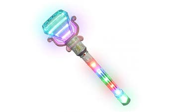 ArtCreativity Multi-Colour Spinning Diamond Wand with LED Handle - 34cm Light Up Princess Wand for Kids - Fun Pretend Play Prop - Batteries Included - Best Birthday Gift for Boys and Girls