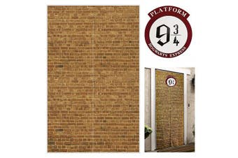 (Brown) - Platform 9 And 3/4 King's Cross Station Brown Brick Wall Party Backdrop, Secret Passage To The Magic School Decorative,Fabric 130cm x 200cm Polyester Door Curtain for Harry Potter Halloween Decor