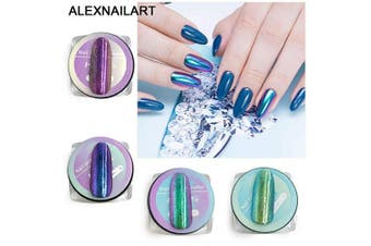 Alexnailart 4 pcs Nail Art Mirror Powder Set Holographic Laser Chrome UV Gel Nail Glitters Neon Rainbow Reflective Dust Nail accessories Manicure decoration design tool