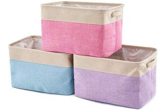 (Cream Mixed Color) - EZOWare Storage Bins Organiser, Set of 3 Foldable Collapsible Large Cube Fabric Linen Canvas Storage Baskets for Shelves Cubby Laundry Playroom Closet Clothes Shoe Baby Toy with Handles (Mixed Colour)