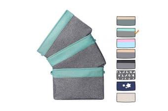 (3 pcs, Green) - HOKEMP Large Foldable Storage Box - Cotton Linen Canvas Clothes Storage Basket Book Baby Toy Organiser Bin (3 pcs, mint green)