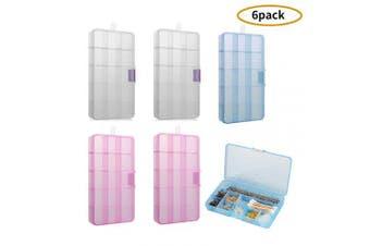 Jewellery Organiser Divider Storage Box (Pack of 6) Adjustable Clear Plastic Box (15-Grid)