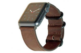 "(42/44mm M/L (6.7-8""), Vintage Brown NATO w/ Gray hardware) - Carterjett Compatible with Apple Watch Band 44mm 42mm Leather iWatch Band Replacement Strap Crazy Horse Genuine Leather Grey Military-Style Hardware for Series 5 4 3 2 1 (42 44 M/L Vintage"