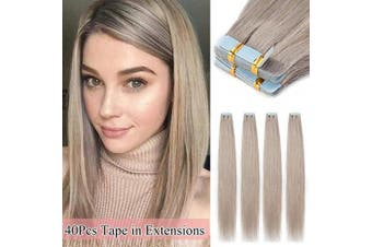 (50cm  100g, #Grey) - 50cm Grey Tape in Hair Extensions Real Human Hair Full Head Tape Extensions 40pcs 100g 100% Remy Hair Piece Straight Natural,#Grey