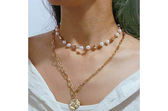 Asooll Boho Layered Coin Totem Pendant Choker Necklace Gold Pearl Necklaces Fashion Jewellery Chain Accessories for Women and Girls