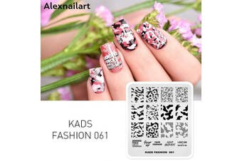 (FA061) - Alexnailart Nail Art Stamping Plates Image Template Camouflage Pattern Cow Texture Graphics Alphabet Pattern Design Stamper Nail Art DIY Print Manicure Nail Art Stencil Tools